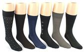 24 Pairs Pack of WSD Men's Classic Crew Dress Socks (Assorted Patterns, Size 10-13)