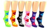 24 Pairs Pack of WSD Women's Novelty Crew Socks, Value Pack, Fun Socks (Argyle Print, 9-11)