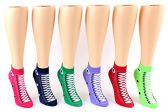 24 Pairs Pack of WSD Women's Low Cut Novelty Socks, Value Pack, Athletic Socks (Sneaker Print, 9-11)