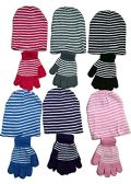 6 Ladies 2 Piece Set Of excell Striped Winter Glove And Hat Set