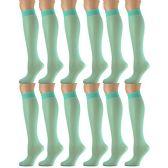 12 Pairs of excell Trouser Socks for Women, 20 Denier Knee High Dress Socks (Turquois) - Womens Dress Socks