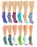 24 Pairs Pack of WSD Women's Fuzzy Ankle Socks, Value Pack, Casual Socks (Assorted Styles, 9-11)