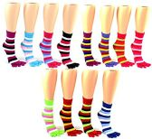 24 Pairs Pack of WSD Women's Toe Socks, Value Pack, Casual Socks (Striped Print, 9-11)