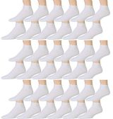 12 Pair Pack Of excell Kids White Cotton Low Cut Cotton Ankle Socks (4-6, 36 Pairs Value Pack (White)) - Girls Ankle Sock
