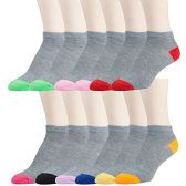 12 Pairs of excell Womens Flat Knit Athletic No Show Ankle Socks, Assorted, 9-11 (Gray/Colorful Heel and Toe)