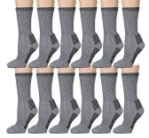 excell Merino Wool Socks for Hiking, Trail, Hunting, Winter, All Sizes - Various Colors (12 Pairs Gray, Mens King Size 13-16) - Boys Crew Sock