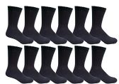 12 Pair of Excell Mens Athletic Sports Quality Crew Socks Ringspun Cotton (Black) - Mens Crew Socks