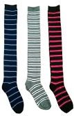 3 Pairs of excell women's over the knee thigh high striped socks 6011-3