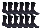 Excell men's 12 Pairs of classic crew socks with full cushion cotton blend, Black, sock size King Size 13-16 - Mens Crew Socks
