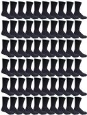 60 Pairs of Kids Sports Crew Socks, Wholesale Bulk Pack Sock for boys and girls, by excell (6-8, Black) - Boys Crew Sock