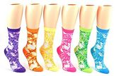 24 Pairs Pack of WSD Women's Novelty Crew Socks, Value Pack, Fun Socks (Tie Dye Print, 9-11)