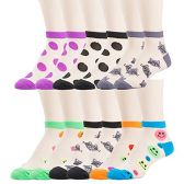 12 Pairs of excell Womens Mesh Fashion Ankle Socks, size 9-11 (Assorted Prints C)