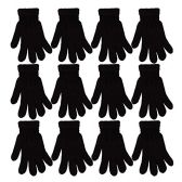 12 Pack of excell Acrylic Knit Gloves, Black, One Size Fits All - Magic Acrylic Gloves