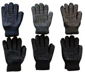 6 Pairs Of Mens excell Winter Heavy Knit Rubber Gripper Gloves - Ski Gloves