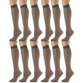 12 Pairs of excell Trouser Socks for Women, 20 Denier Knee High Dress Socks (Medium Gray) - Womens Dress Socks