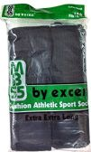 6 Pair of Excell men's extra long tube socks, Black, Sock Size 11-16