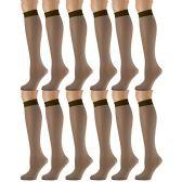 12 Pairs of excell Trouser Socks for Women, 20 Denier Knee High Dress Socks (Brown) - Womens Dress Socks