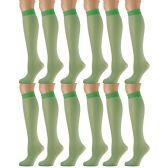 12 Pairs of excell Trouser Socks for Women, 20 Denier Knee High Dress Socks (Kelly) - Womens Dress Socks