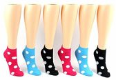 24 Pairs Pack of WSD Women's Low Cut Novelty Socks, Value Pack, Athletic Socks (Dot Print, 9-11)