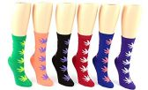 24 Pairs Pack of WSD Women's Novelty Crew Socks, Value Pack, Fun Socks (Marijuana Leaf Print, 9-11) - Womens Crew Sock