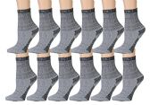 12 Pairs of excell Childrens Mens Womens Merino Wool Socks, Gray, Sock Size 4-6 - Boys Crew Sock