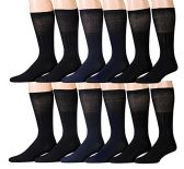 12 Pairs Unisex White Diabetic Socks for Neuropathy, Edema, Circulation, Comfort, by excell (10-13, Black (Diabetic Dress Socks)) - Mens Crew Socks