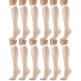 12 Pairs of excell Trouser Socks for Women, 60 Denier Opaque Knee High Dress Socks (Off White) - Womens Dress Socks