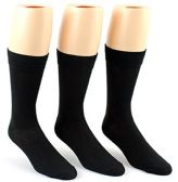 24 Pairs Pack of WSD Men's Classic Crew Dress Socks (Black, Size 10-13)