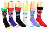 24 Pairs Pack of WSD Men's Casual Crew Dress Socks (Pyramid Print, Size 10-13)