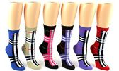 24 Pairs Pack of WSD Women's Novelty Crew Socks, Value Pack, Fun Socks (Designer Print, 9-11)