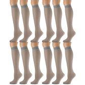 12 Pairs of excell Trouser Socks for Women, 20 Denier Knee High Dress Socks (Gray Mist) - Womens Dress Socks