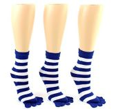 24 Pairs Pack of WSD Women's Toe Socks, Value Pack, Casual Socks (Blue & White Striped Print, 9-11) - Women's Toe Sock