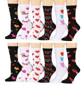 12 Pairs of Excell Womens Heart Print Valentine Crew Socks, Cute Patterns