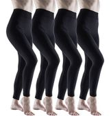 Mod & Tone Women's Fleece Brushed Leggings, Warm, Soft (Black-SM (4 Pack) - Womens Leggings