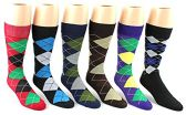 24 Pairs Pack of WSD Men's Casual Crew Dress Socks (Argyle Print, Size 10-13)