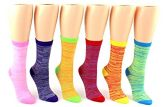 24 Pairs Pack of WSD Women's Novelty Crew Socks, Value Pack, Fun Socks (Lined Patterns, 9-11) - Womens Crew Sock