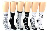24 Pairs Pack of WSD Women's Novelty Crew Socks, Value Pack, Fun Socks (Music Prints, 9-11)