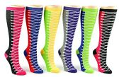 24 Pairs Pack of WSD Women's Knee High Socks, Value Pack, Novelty Socks (Sneaker Print, 9-11)