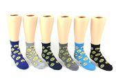 24 Pairs Pack of WSD Kid's Crew Socks, Value Pack, Novelty Socks (Emoji Print, 4-6) - Boys Ankle Sock