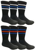 6 Pairs Crew Socks for Men, Cotton Athletic Sports Casual Sock by WSD (Black) - Mens Crew Socks