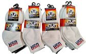 12 Pairs Of Kids excell USA Printed Cotton Athletic Sports Ankle Socks - Boys Ankle Sock
