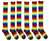 6 Pairs excell Ladies Rainbow Stripe Over The Knee Sock #6007-6 - Womens Knee Highs