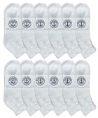 12 Pack Of excell Mens White Quarter Length Terry Sole Super Soft Ankle Socks - Mens Ankle Sock