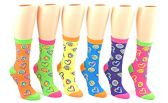 24 Pairs Pack of WSD Women's Novelty Crew Socks, Value Pack, Fun Socks (Neon Heart Print, 9-11)