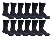 12 Pairs of Excell Women Crew Socks, Quality Ringspun Cotton Soft Athletic Socks (Black)