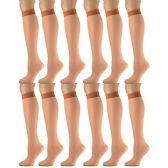 12 Pairs of excell Trouser Socks for Women, 60 Denier Opaque Knee High Dress Socks (Pecan) - Womens Dress Socks