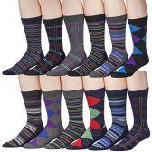 12 Pairs Of excell Men's Designer Cotton Blend Mix Patterns Dress Socks, # 2600