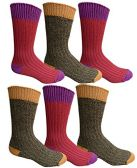 6 Pairs Of excell Mens Premium Winter Wool Socks With Cable Knit Design (Assorted E) - Mens Thermal Sock