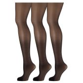 3 Pack of Mod & Tone Sheer Support Control Top 30D Womens Pantyhose(Black,Large) - Womens Pantyhose