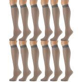 12 Pairs of excell Trouser Socks for Women, 60 Denier Opaque Knee High Dress Socks (French Gray) - Womens Dress Socks